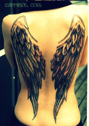 angel tattoos designs. angel wings tattoo design.